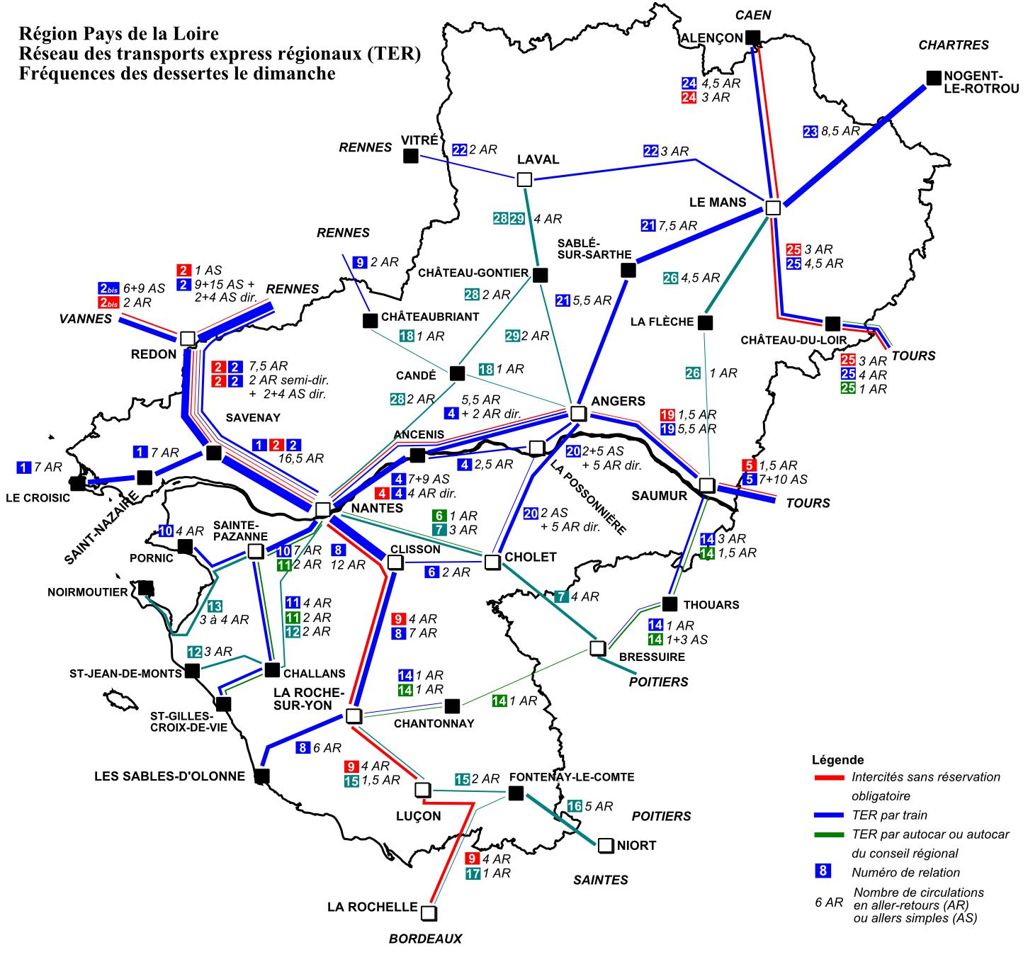 Схема региональных поездов TER в регионе Pays de la Loire (Пэи-де-ла-Луар, Земли Луары)