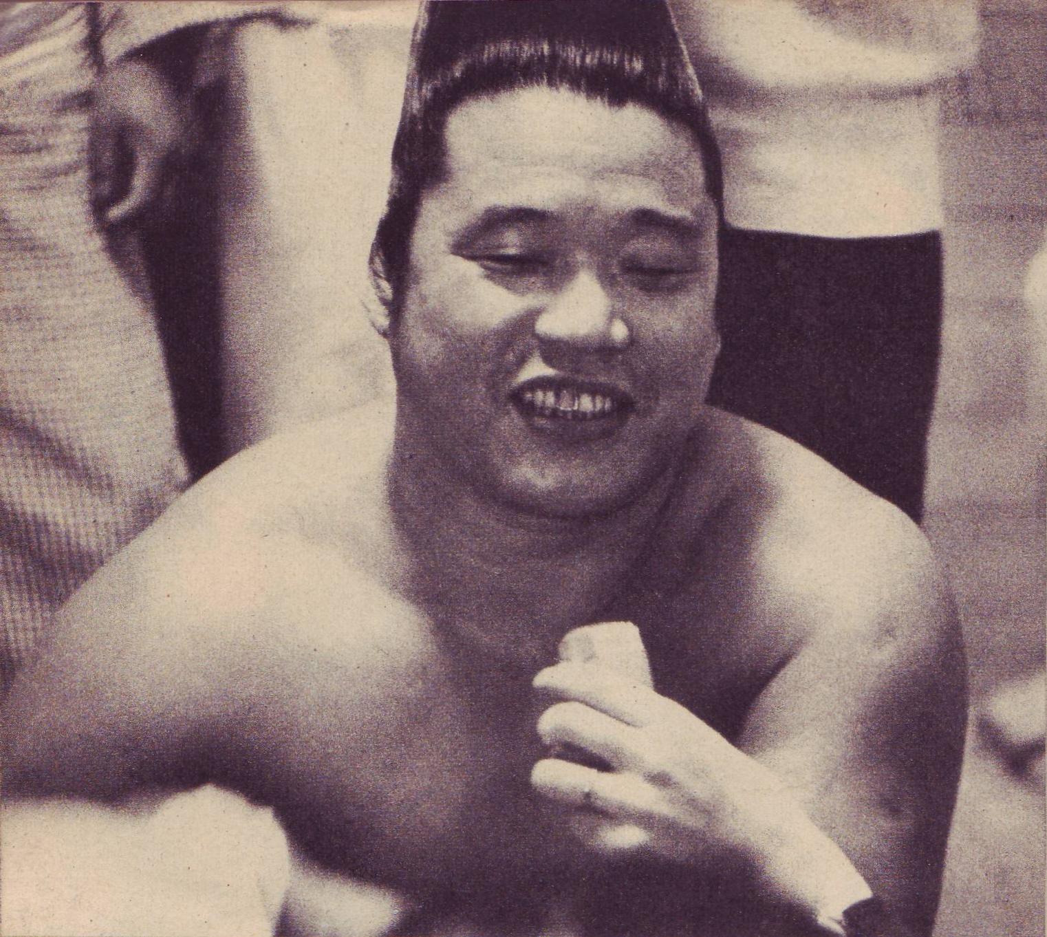 Kagamisato left ,Yoshibayama,Japanese Sumo wrestlers,during match in Tokyo,1952 Photo
