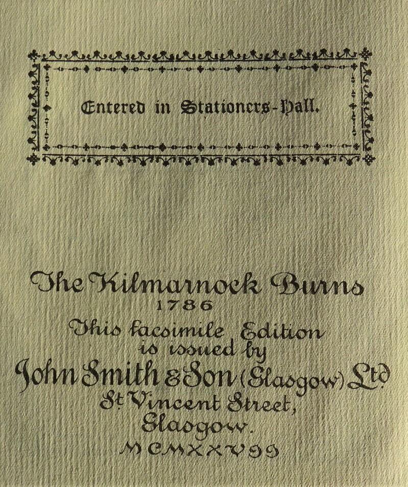 Filethe Kilmarnock Edition Robert Burns Poems 1927
