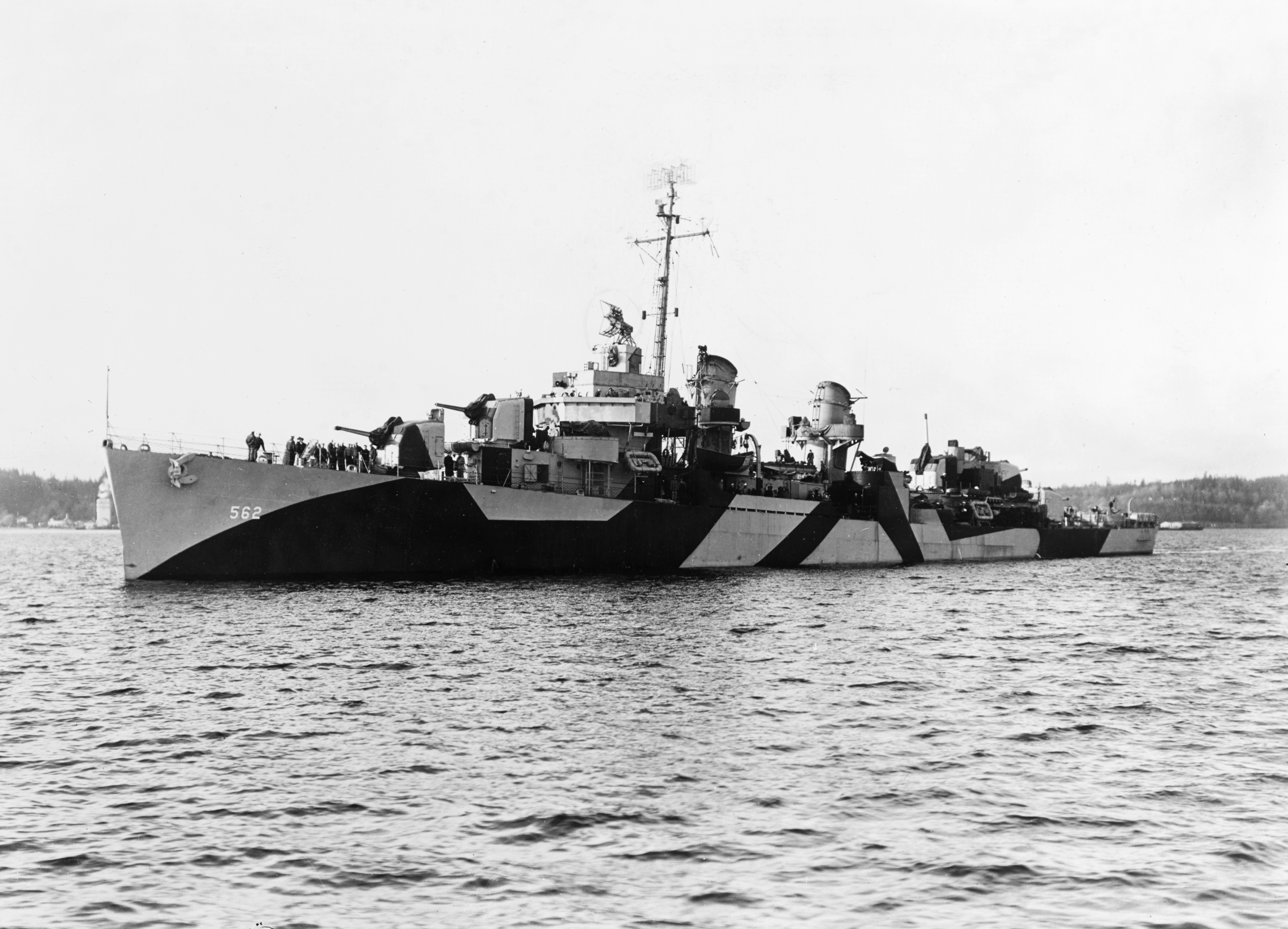 The USS Robinson off the Puget Sound Navy Yard, Washington, 8 April 1944. She is wearing Camouflage Measure 32, Design 13D.