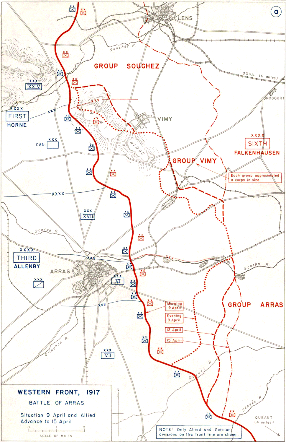 Map of the Battle of Arras (1917) showing Allied advance 9th - 15th April.