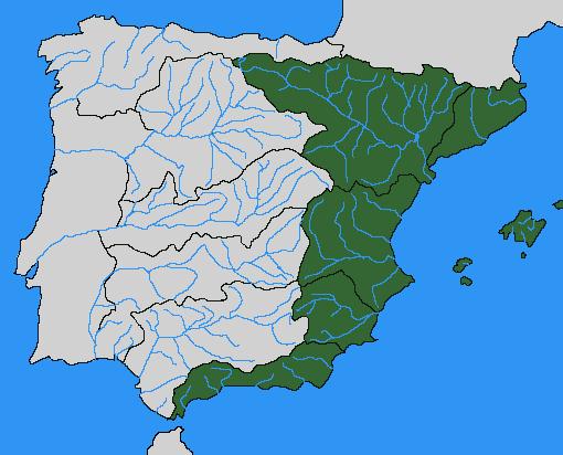 Vertientes Mapa Hidrografico De España.Archivo Vertiente Mediterranea Png Wikipedia La