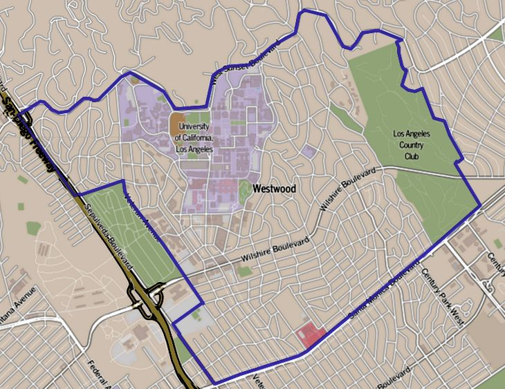 Westwood, Los Angeles - Wikipedia on westwood la map, westwood kansas map, westwood ma zoning map, westwood map google maps, westwood map of grounds, westwood ucla map,