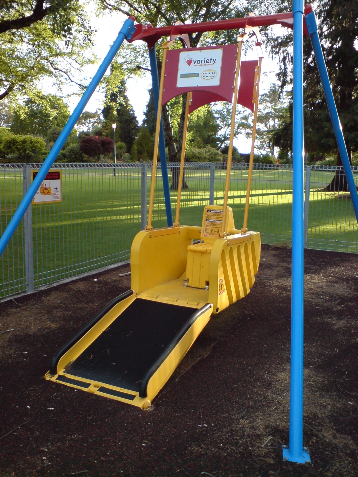 A swing for kids in wheelchairs