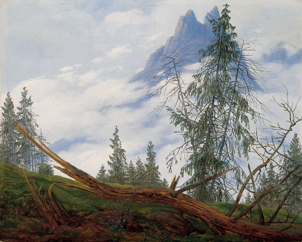 File:'Mountain Peak with Drifting Clouds', oil on canvas painting by Caspar David Friedrich.jpg