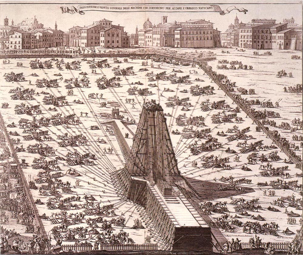 Re-Erecting an Egyptian Obelisk in Rome in 1586