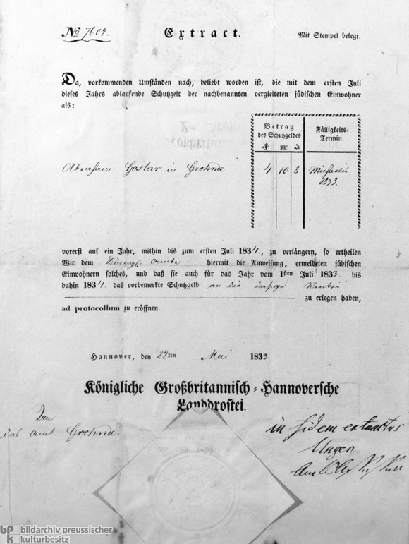 Protected Jew  certificate (Prussia, 1833)