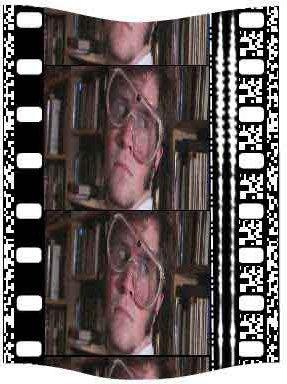 73c5f955 Etterligning av en 35mm-film med lydspor – De ytterste stripene (på hver  side) inneholder SDDS-lydsporet som et bilde av et digitalt signal.