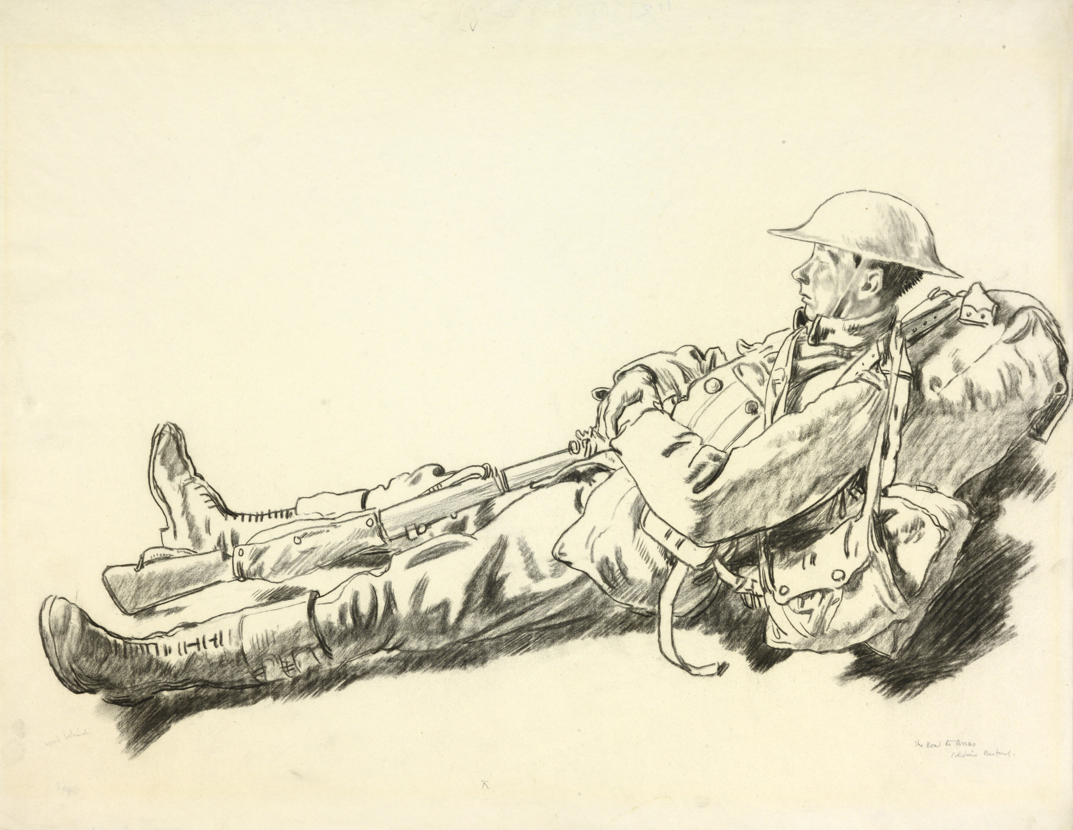 File:A Soldier Resting- the Road to Arras Art.IWMART2961.jpg - Wikimedia  Commons