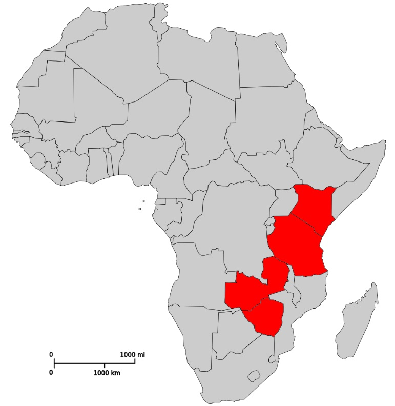Map Of Africa Tanzania.File Africa Map Kenya Tanzania Zambia Zimbabwe Jpg Wikimedia