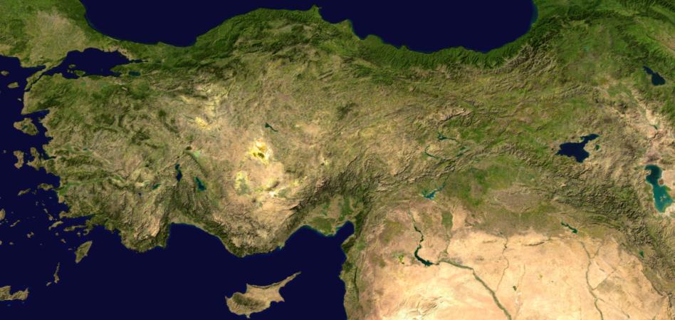 Mapa físico de Turquía.