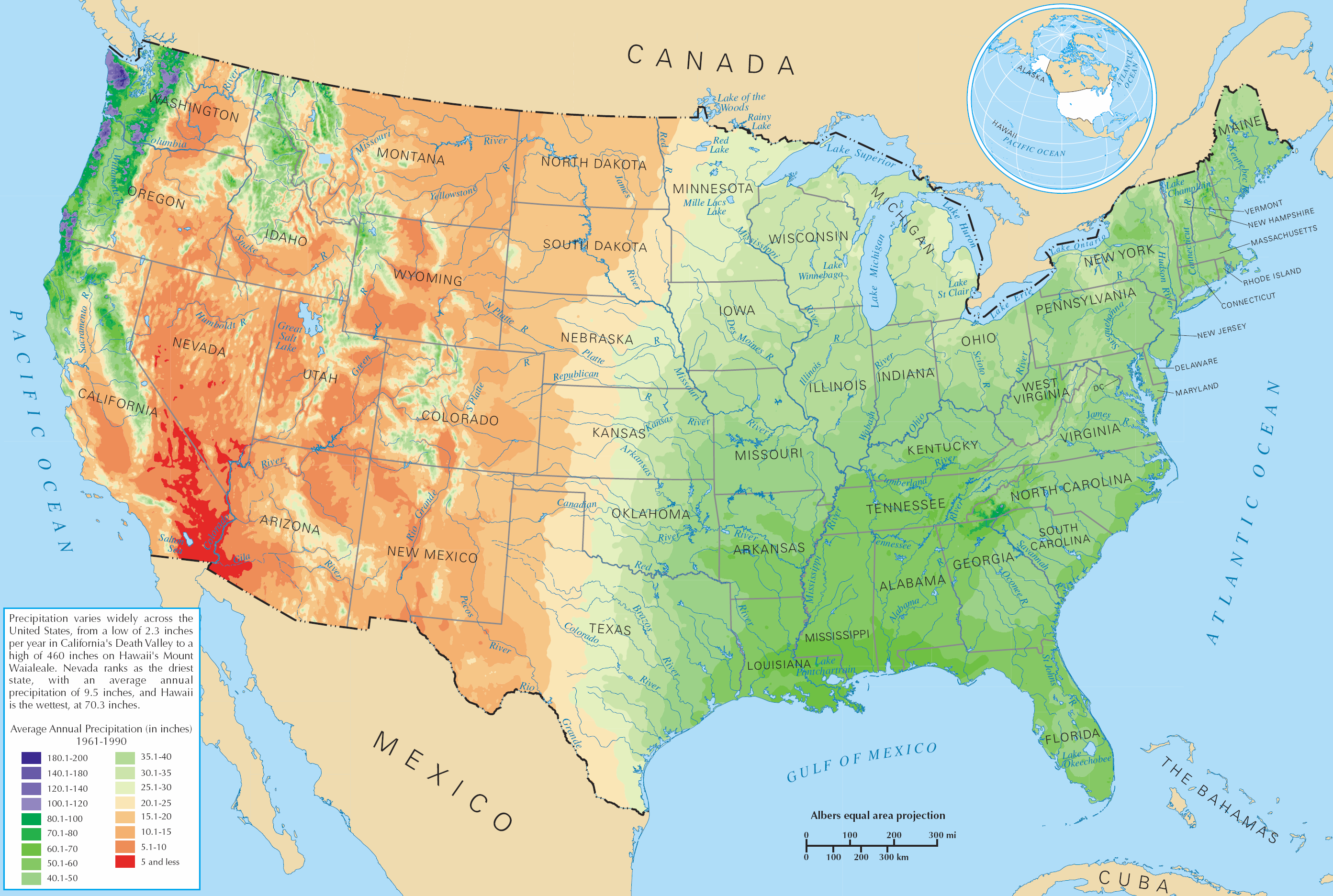 Rainfall Map Usa United States rainfall climatology   Wikipedia