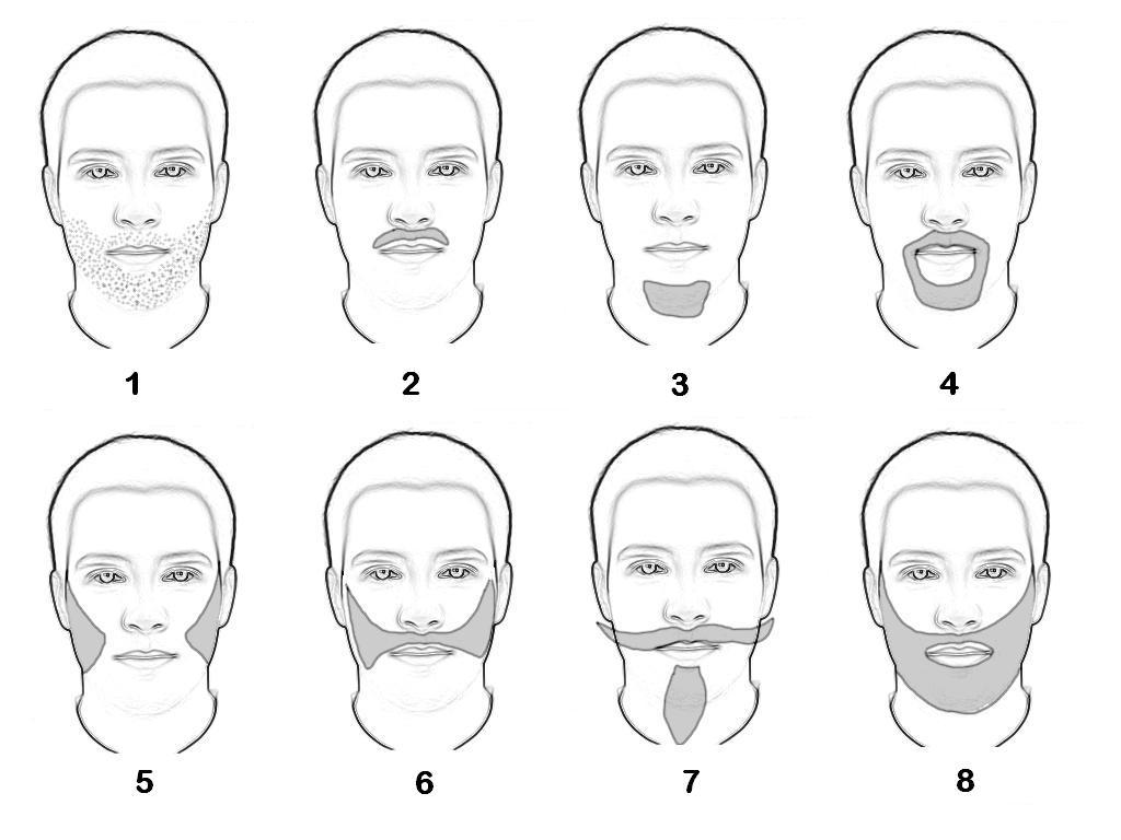 English: 1 - Stubble, 2 - Moustache, 3 - Goatee, 4 - Van Dyke, 5 - Mutton-chops, 6 - Friendly Muttonchops, 7 - Spanish beard, 8 - Full beard