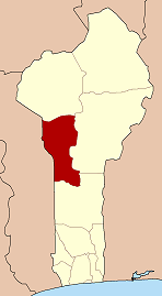 Map of Benin highlighting Donga department
