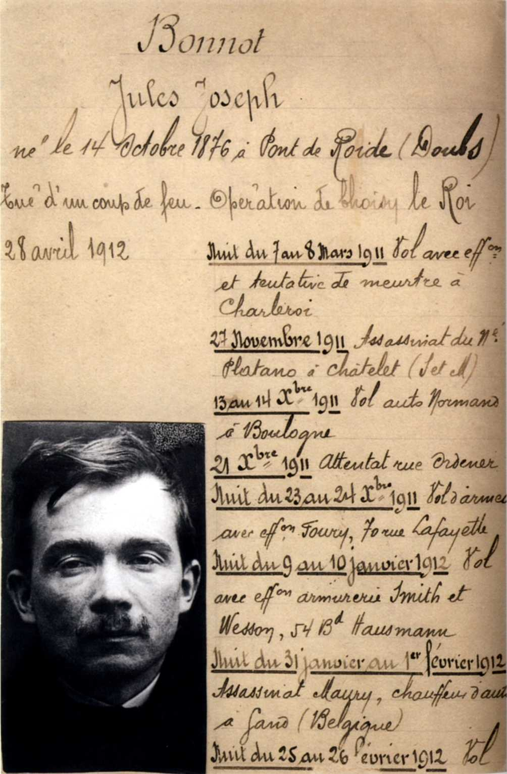 A 1912 police record and 1910 photo of Bonnot taken in [[Lyon, France