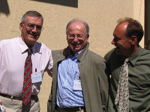 Robert Cailliau, Jean-Fran ois Abramatic of IBM, and Tim Berners-Lee at the 10th anniversary of the World Wide Web Consortium.