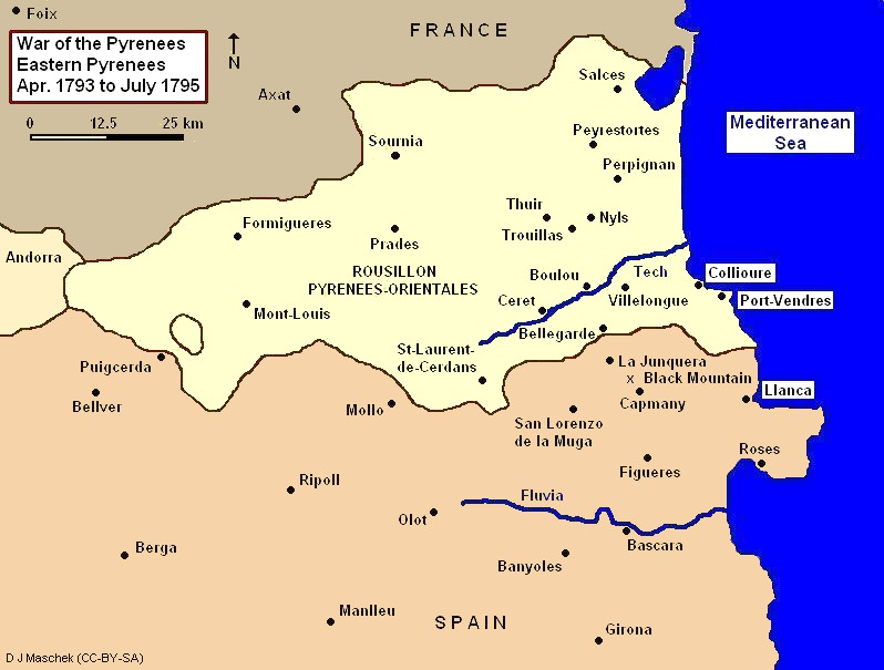 War of the Pyrenees, Eastern Theater Eastern Theater Pyrenees War 1793 to 1795.jpg