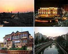 Tsp left:Eskişehir Central railway station, Tap richt: Tepebaşı Municipality, Bottom left: Museum o Glassware Airts, Bottom richt: Porsuk River.