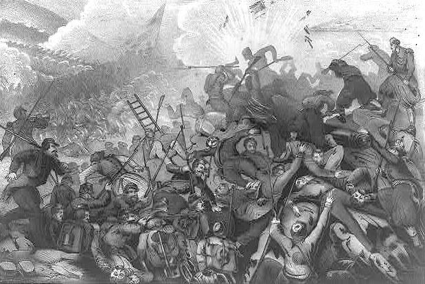 Combate entre tropas francesas y rusas durante el asedio de Sebastopol.