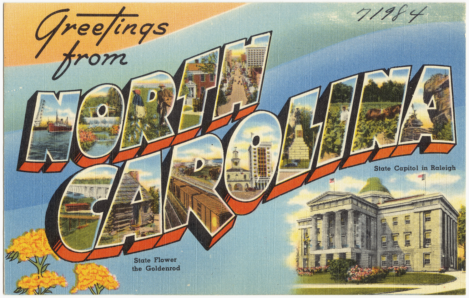 File Greetings from North Carolina state capitol in Raleigh state flower th