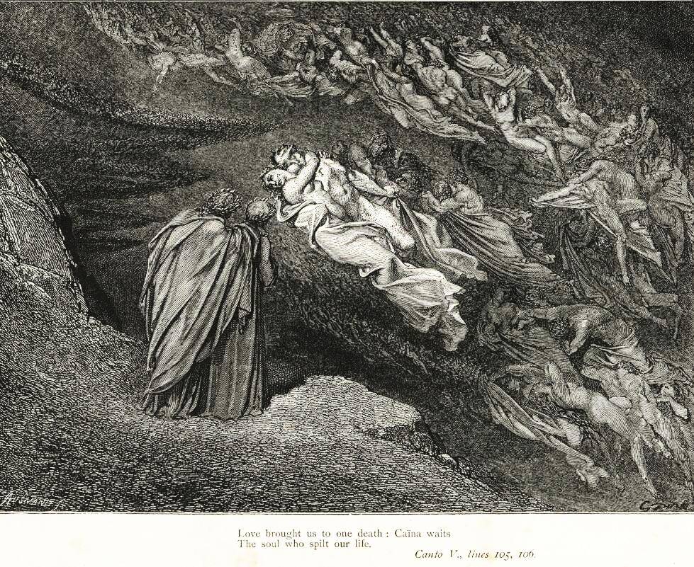 File Gustave Doré Dante Alighieri Inferno Plate 16 Canto V Francesca Di Rimini Ii Jpg Wikimedia Commons
