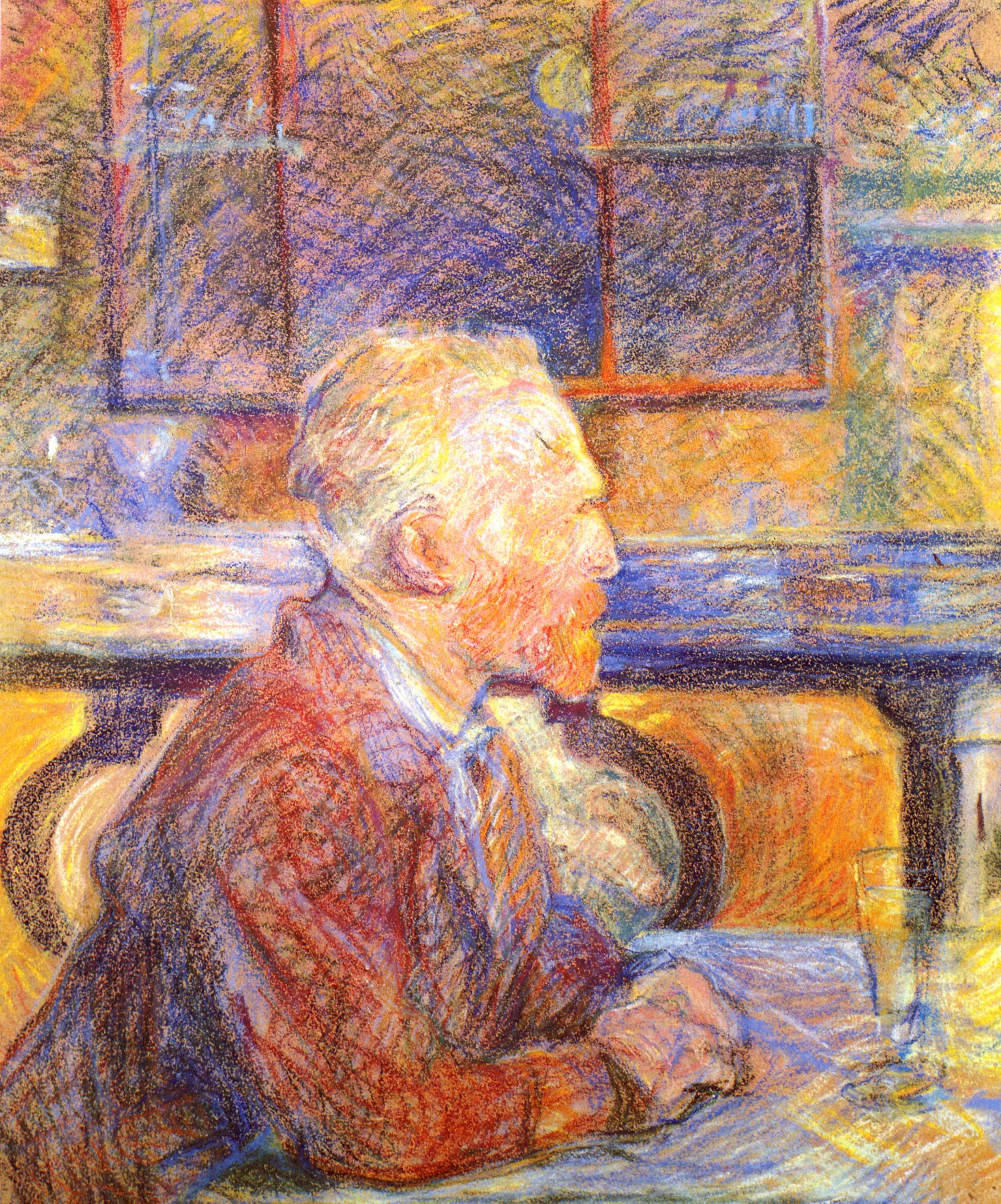 blue-hued pastel drawing of a man facing right, seated at a table with his hands and a glass on it while wearing a coat and with windows in the background.