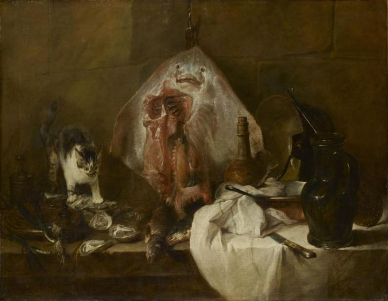 Bodegón con gato y raya de Chardin