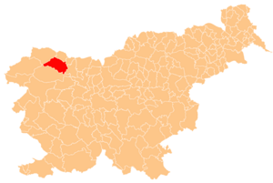 Location of Bled in Slovenia