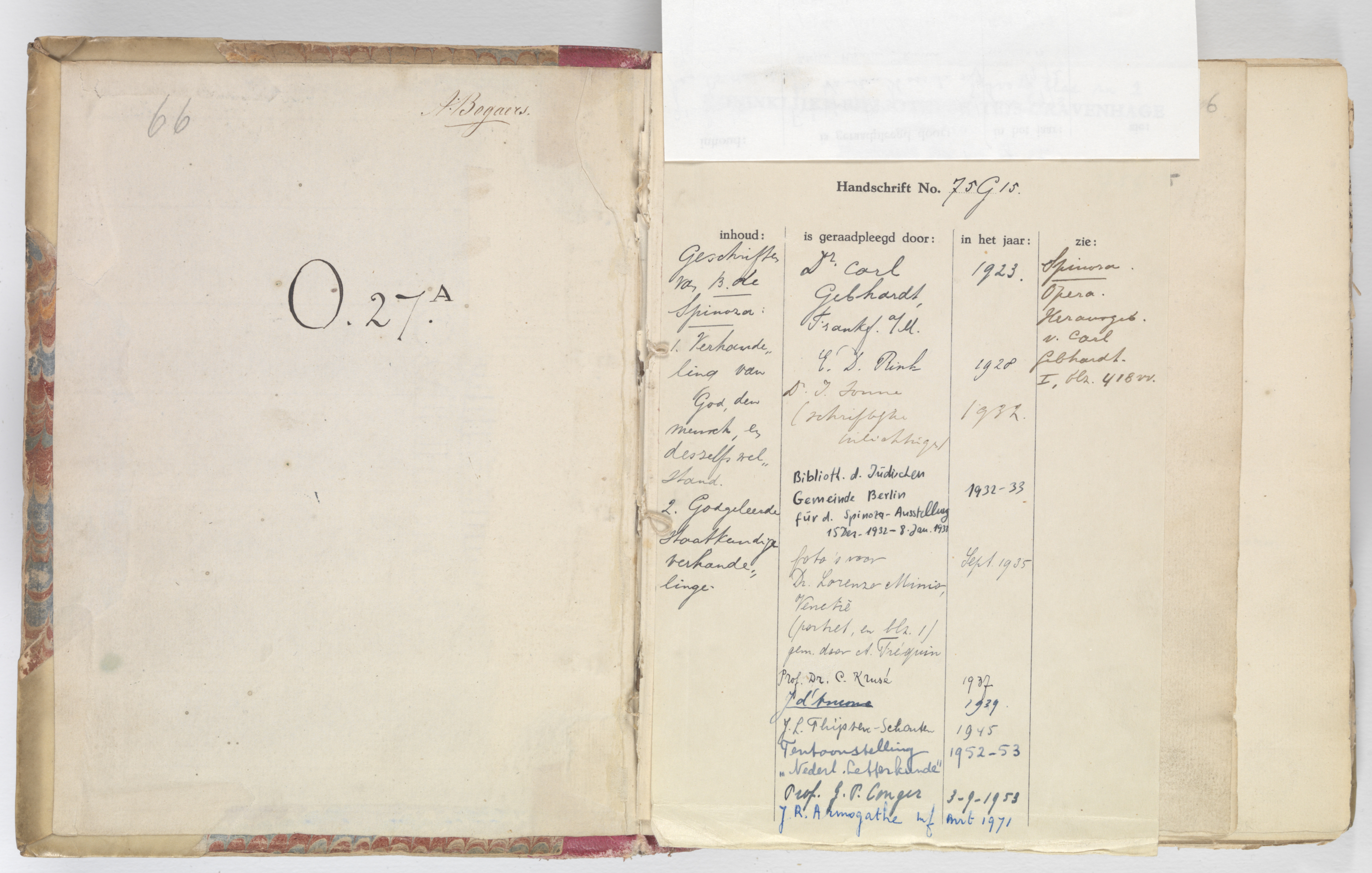 File Check Out Card file:library check-out card (1923-1971) in spinozas korte
