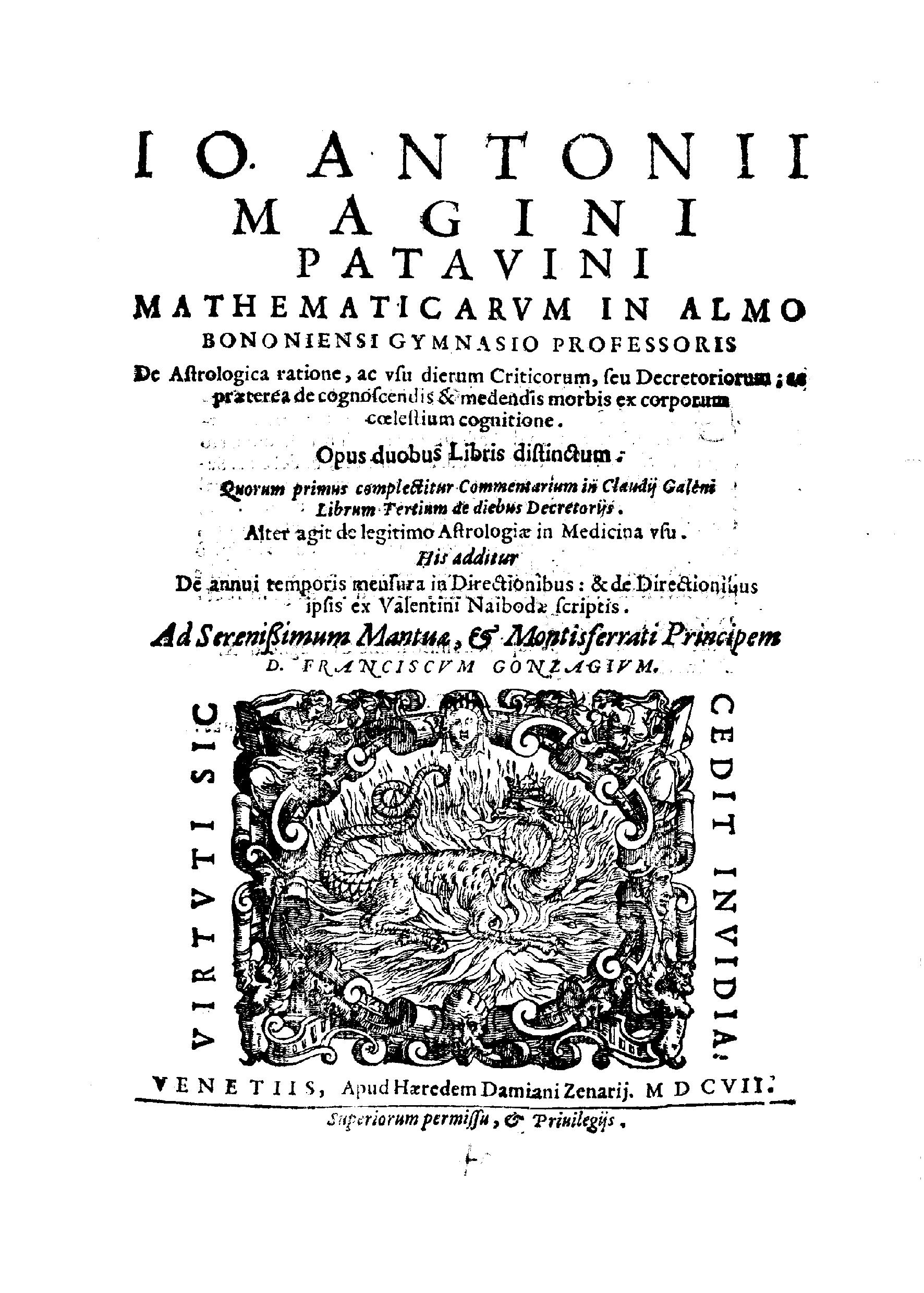 ''De astrologica ratione'', 1607