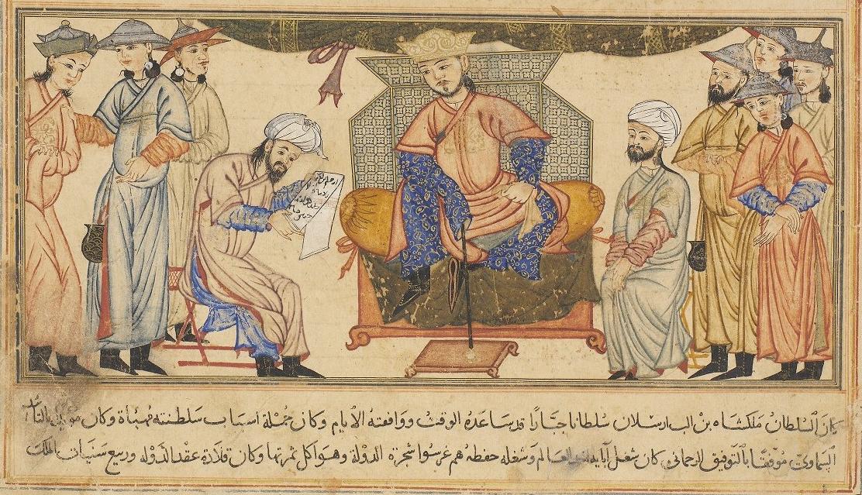 "Seljuk Emperor Mālikshāh surrounded by members of his court. From Jami' al-Tawarikh (""Compendium of Chronicles"") by Rashid al-Din, 1307. Mālikshāh's vizier Niẓām al-Mulk was al-Ghazālī's first and most important patron.  (Wikimedia Commons)"