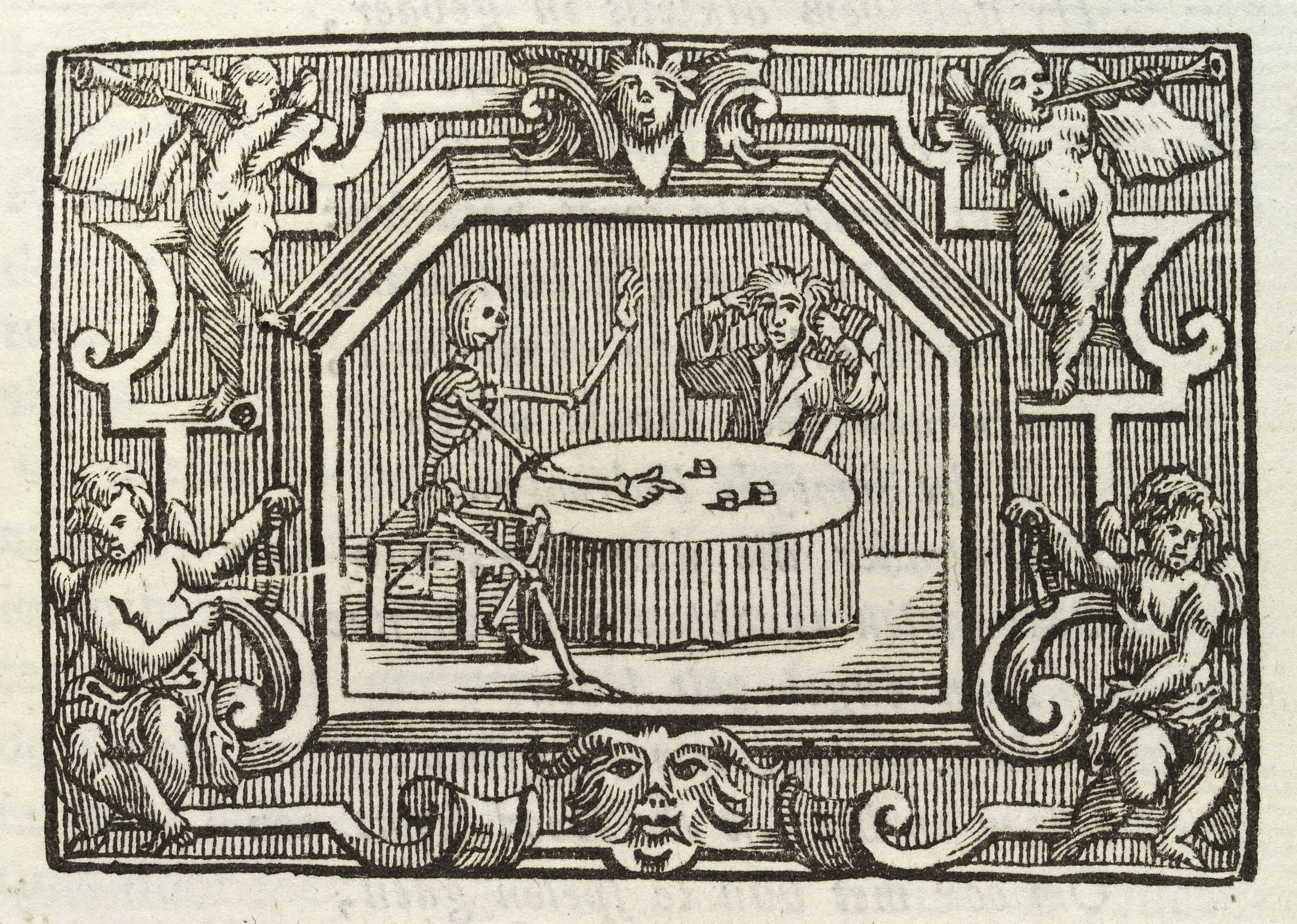 File Man Dicing With A Skeleton Representing Death 1767