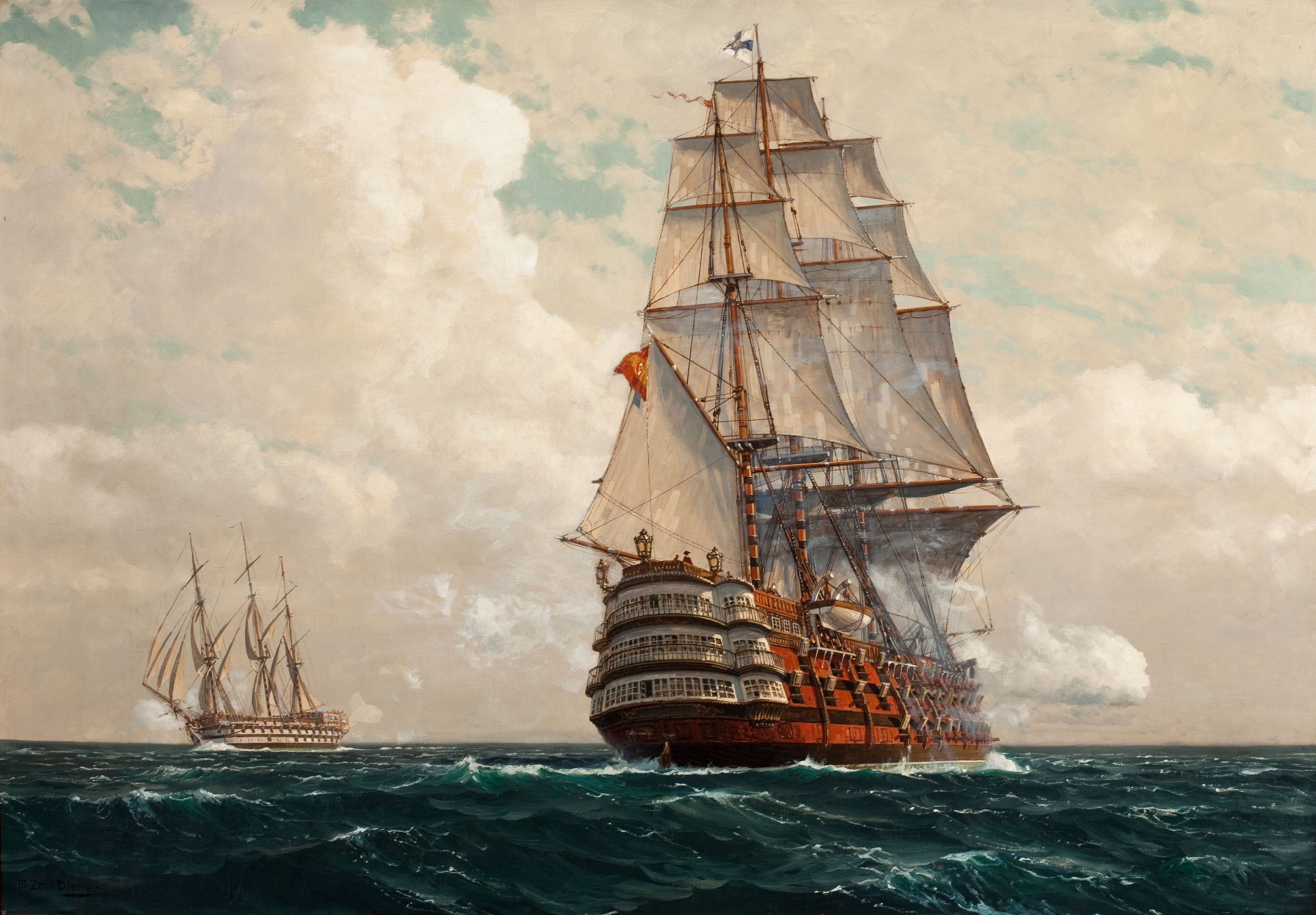 Old Ship Painting