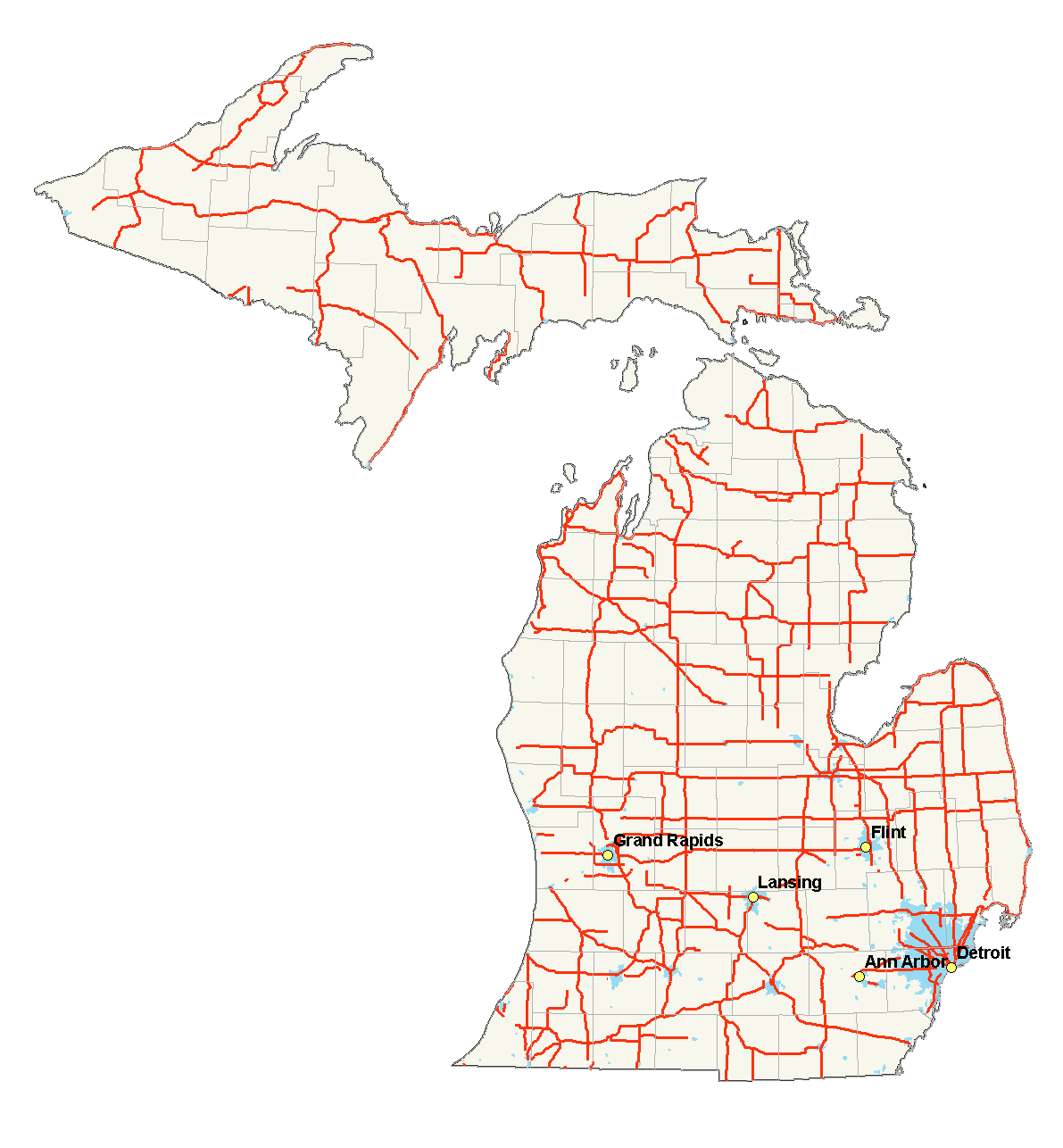 File Michigan Highways Map Png Wikimedia Commons