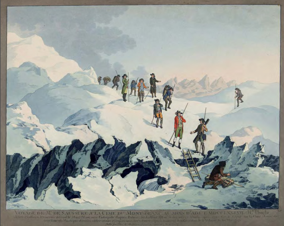 Saussure on Mont Blanc, by Marquard Wocher (1790)