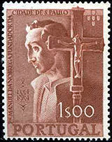 Manuel da Nobrega on a commemorative Portuguese stamp of the 400th anniversary of the foundation of Sao Paulo, Brazil Nobrega2.jpg