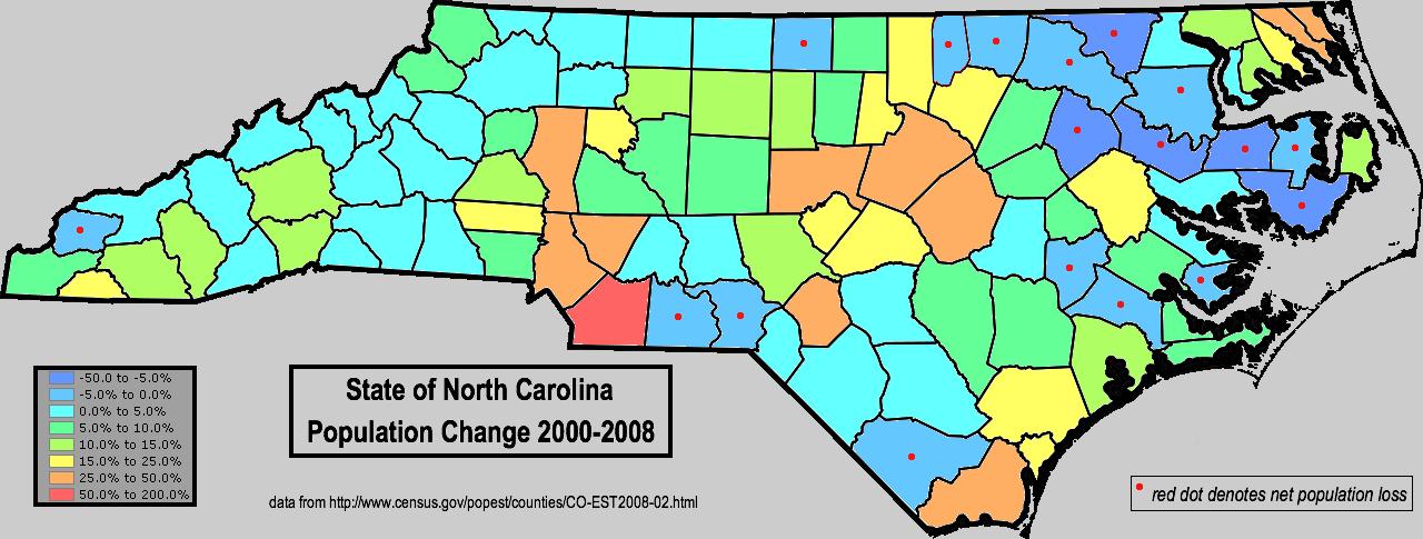 FileNorthCarolinaPopulationChangetopng Wikimedia - North carolina population map