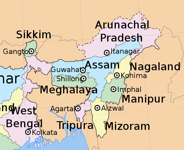File:Northeast india map.png - Wikimedia Commons