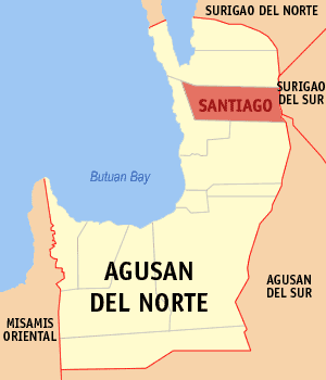 Map of Agusan del Norte showing the location of Santiago