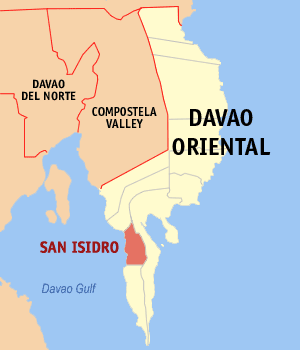 Map of Davao Oriental showing the location of San Isidro