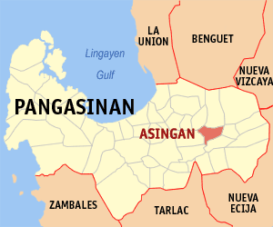 Map of Pangasinan showing the location of Asingan