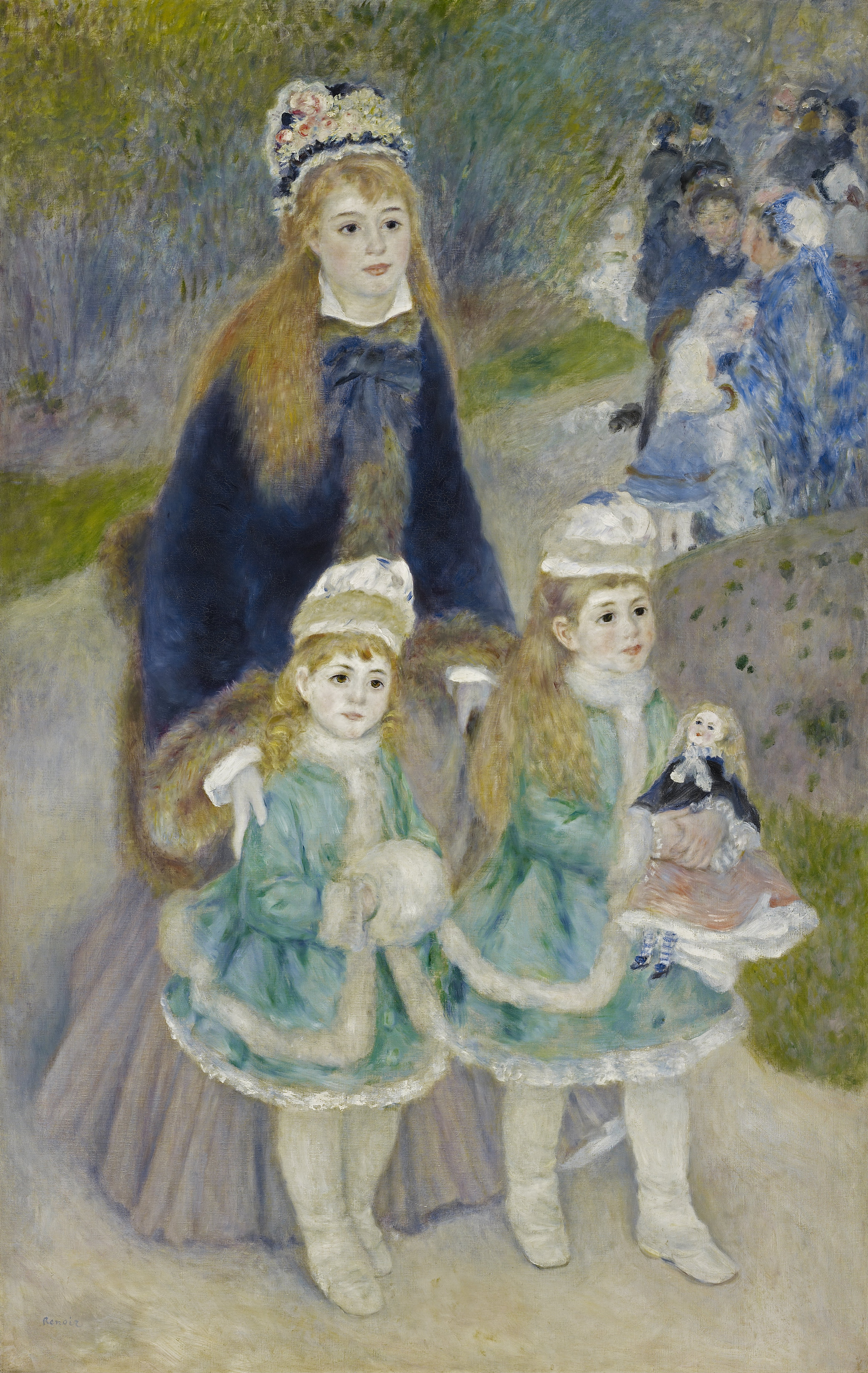 A painting of a woman and two girls standing on a path, all three of which having blonde hair and wearing blue coats and both facing and looking right