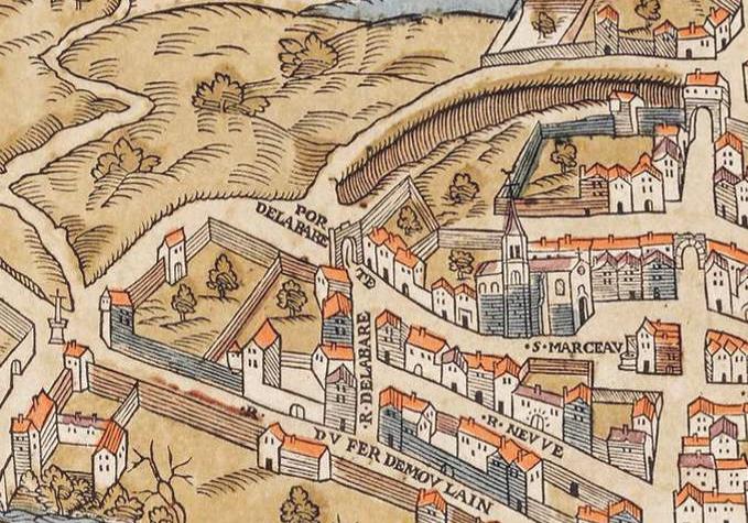 Fichier:Plan de Paris vers 1550 eglise St-Marcel.jpg