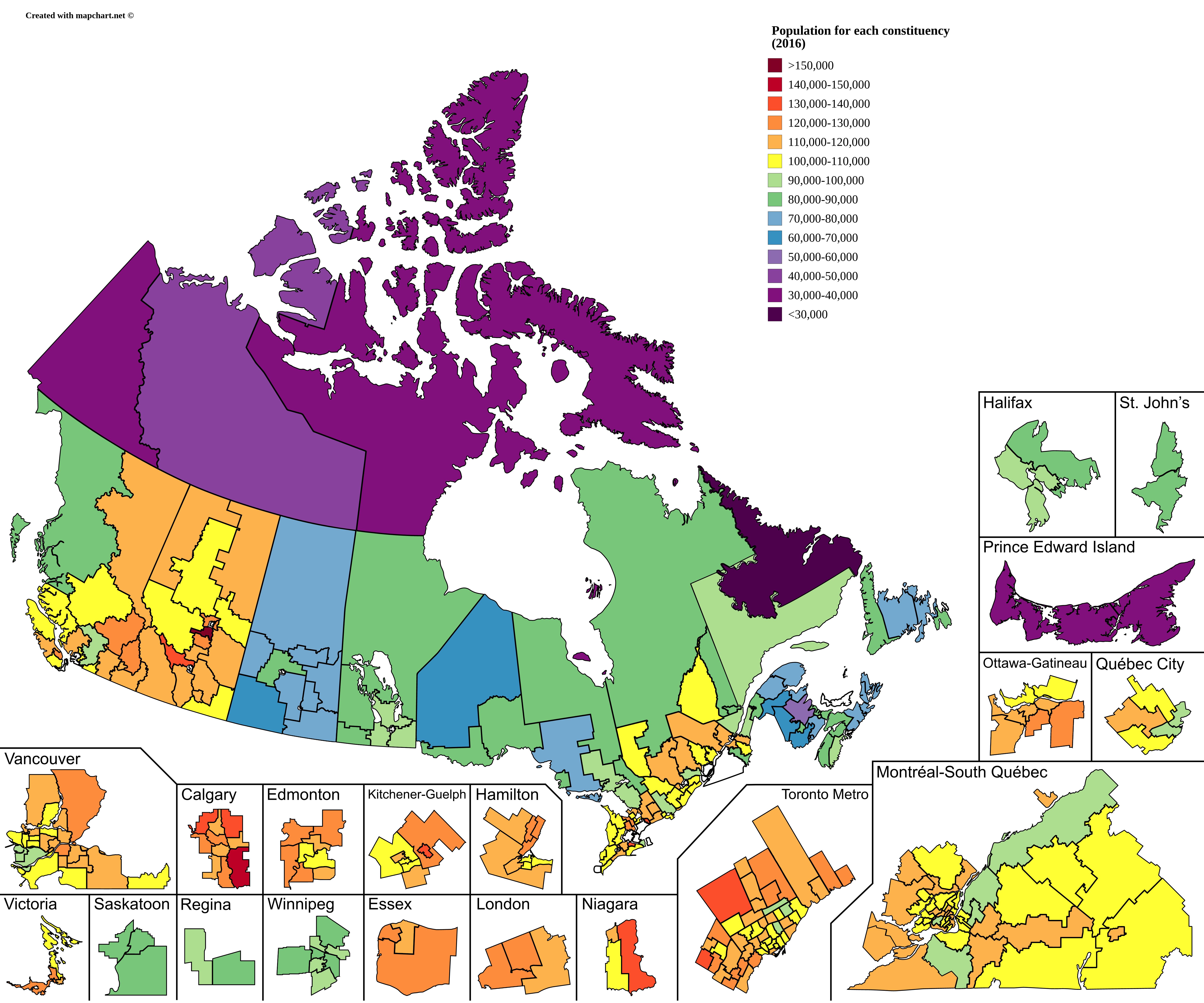 Constituency Map Canada Population of Canadian federal ridings   Wikipedia