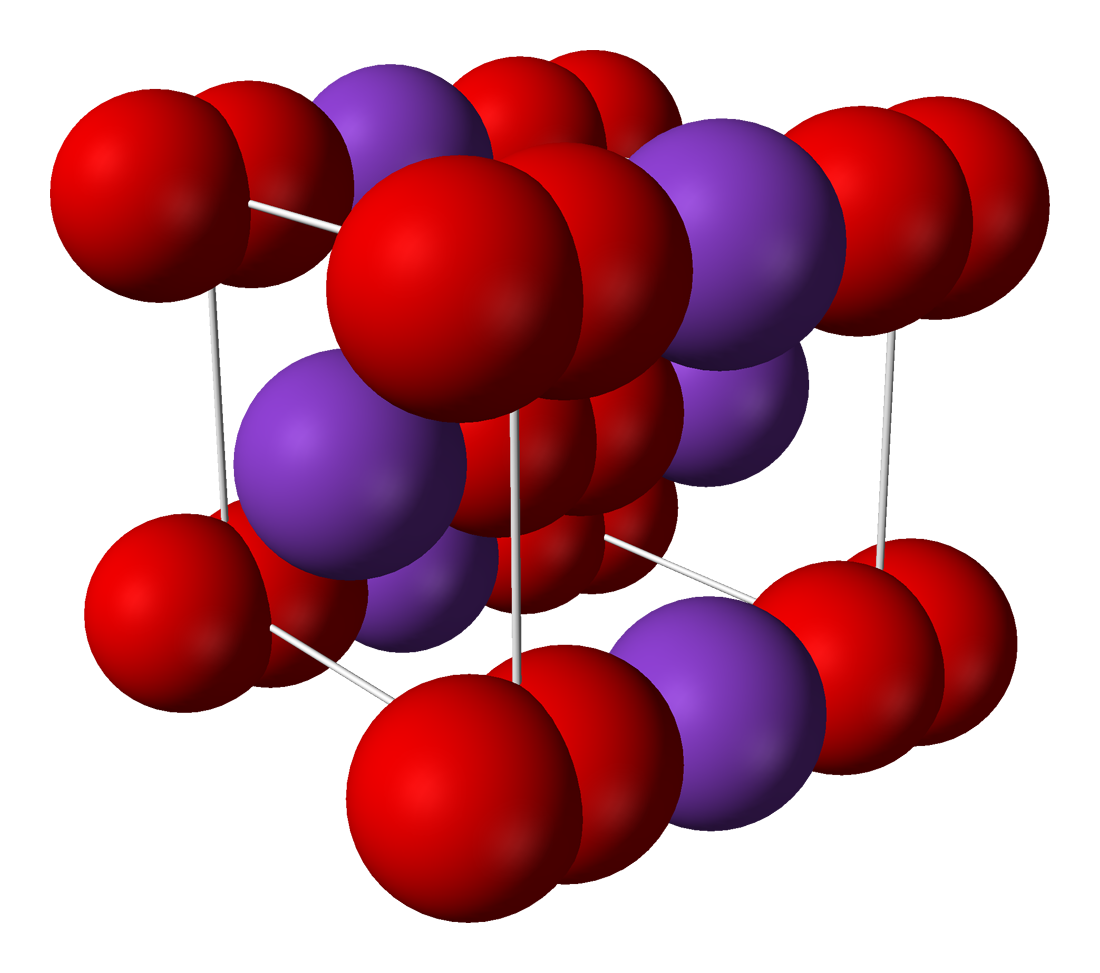 Structure of solid potassium superoxide (KO2).