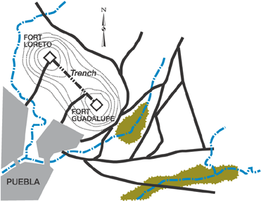 Map of the battle's terrain Puebla map.png