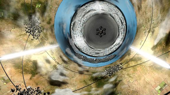 Artistische Darstellung des Inneren des extraterrestrischen Raumschiffs Rama