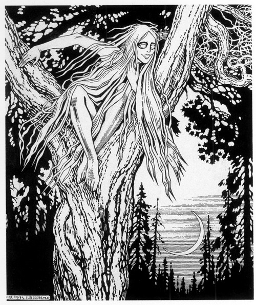 An image of the rusalka, common to lake folklore in Russia.