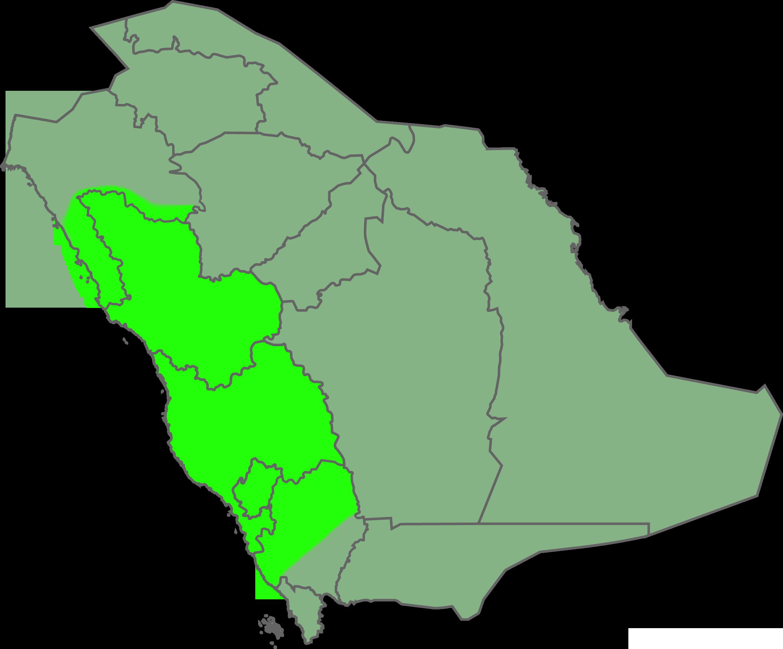 Où se situe le désert de Paran ? Saudi_Arabia_-_Hejaz_region_locator