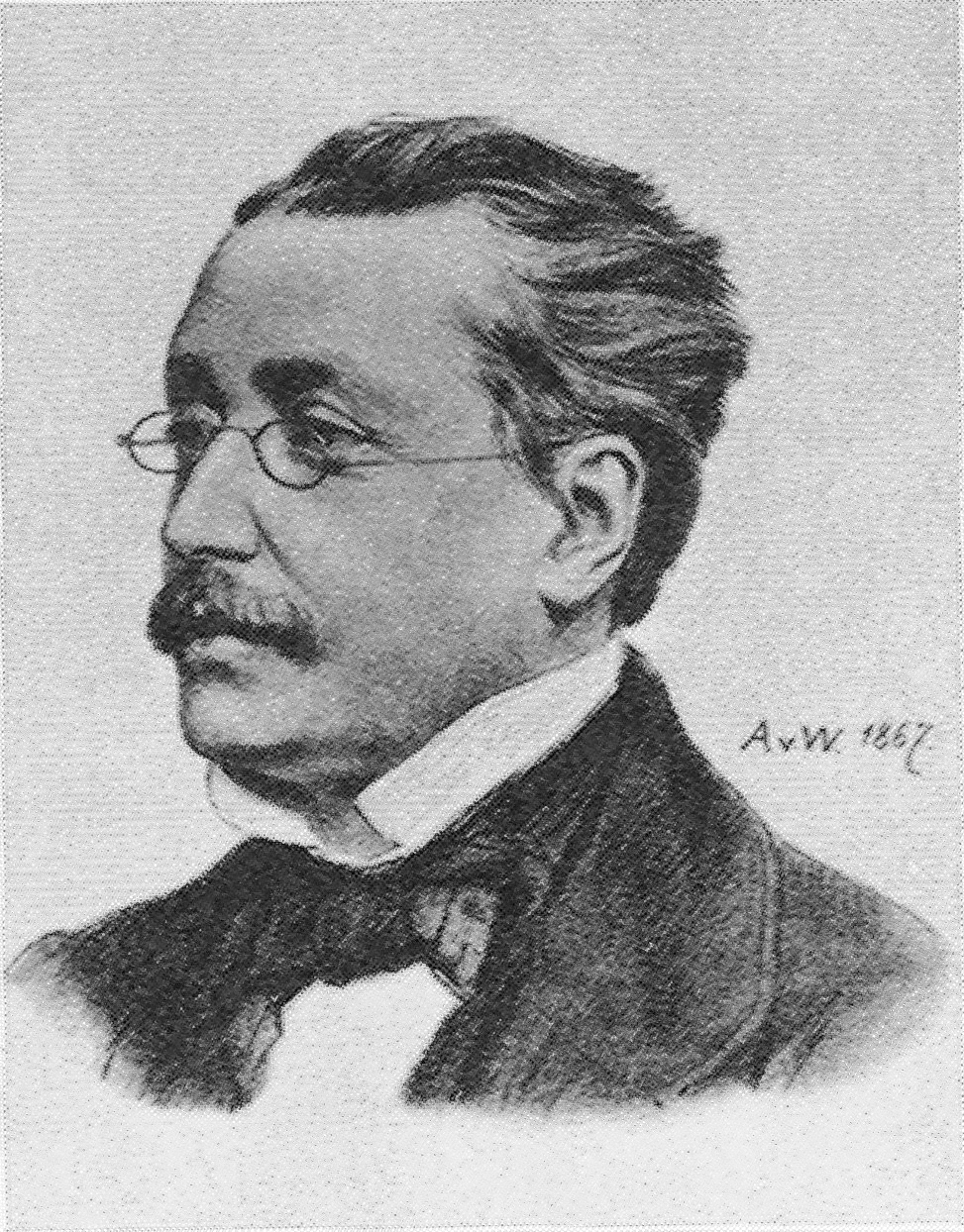 This black and white illustration could be of any white guy between 1800-1950. He has a mustache, his glasses are too tiny, he wears a high popped collar with a ribbon tied around it. Severe widow's peak. This guy just looks like Teddy Roosevelt.